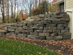 Chapleau Grey outcropping retaining wall